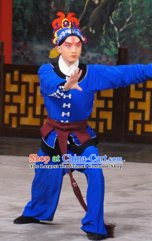 Daming Prefecture Chinese Peking Opera Wusheng Garment Costumes and Headwear Beijing Opera Martial Male Apparels Takefu Yan Qing Clothing