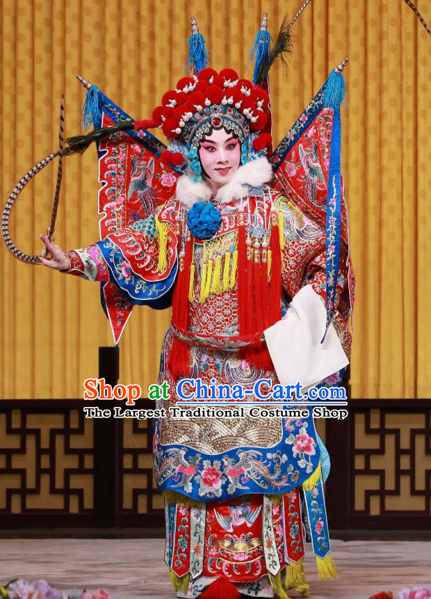 Chinese Beijing Opera Female General Armor Apparels Mu Ke Zhai Costumes and Headpieces Traditional Peking Opera Tao Ma Tan Dress Mu Guiying Kao Garment with Flags