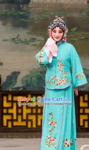 Chinese Beijing Opera Young Mistress Apparels Daming Prefecture Costumes and Headpieces Traditional Peking Opera Actress Blue Dress Garment