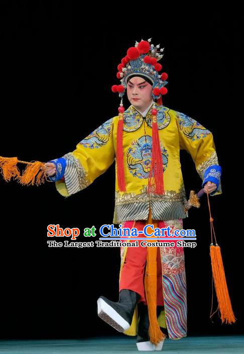 Duan Mi Jian Chinese Peking Opera Young Male Garment Costumes and Headwear Beijing Opera Wusheng Apparels Prince Li Shimin Clothing