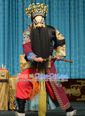 Chun Qiu Bi Chinese Peking Opera Jing Garment Costumes and Headwear Beijing Opera Painted Role Apparels Martial Male Huan Daoji Clothing