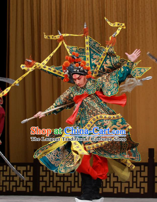 Sang Yuan Ji Zi Chinese Peking Opera Wusheng Garment Costumes and Headwear Beijing Opera General Kao with Flags Apparels Clothing