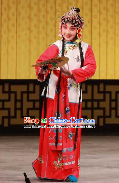 Chinese Beijing Opera Maidservant Chun Lan Apparels Hua Tian Cuo Costumes and Headpieces Traditional Peking Opera Young Lady Dress Xiaodan Garment
