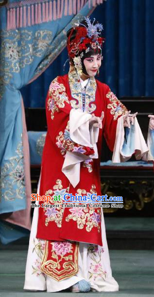 Chinese Beijing Opera Actress Wedding Apparels Hua Tan Huo Xiaoyu Costumes and Headpieces Traditional Peking Opera Young Female Red Dress Bride Garment