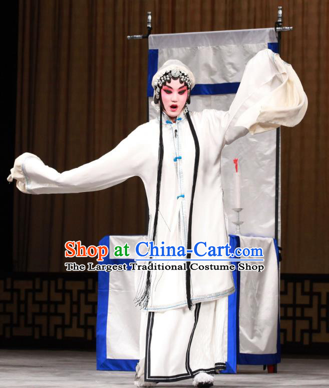 Chinese Beijing Opera Widow Shen Xuezhen Apparels Qing Shuang Sword Costumes and Headpieces Traditional Peking Opera Tsing Yi Dress Distress Maiden Garment