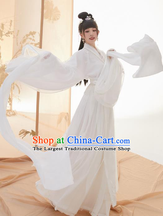 Chinese Ancient Goddess White Hanfu Dress Nobility Lady Garment Traditional Jin Dynasty Royal Princess Historical Costumes for Women
