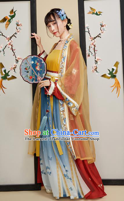 Chinese Ancient Young Lady Hanfu Dress Traditional Song Dynasty Nobility Female Historical Costumes Embroidered Garment for Women