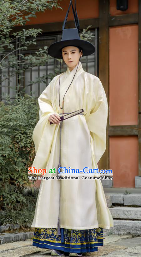 Chinese Traditional Ming Dynasty Hanfu Priest Frock Robe Ancient Taoist Apparels Historical Costumes for Men