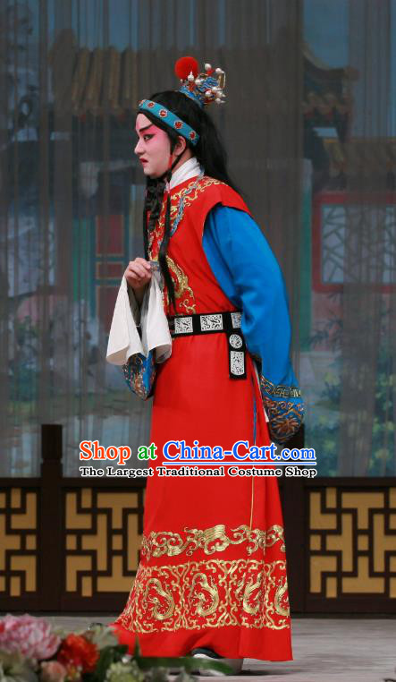 Wu Zetian Chinese Peking Opera Xiaosheng Garment Costumes and Headwear Beijing Opera Young Male Apparels Crown Prince Li Xian Clothing