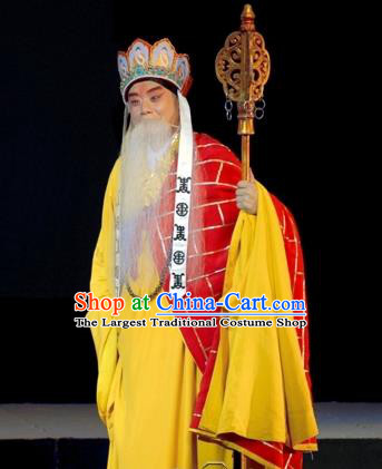 Wu Zetian Chinese Peking Opera Monk Cassock Garment Costumes and Headwear Beijing Opera Elderly Male Apparels Frock Clothing