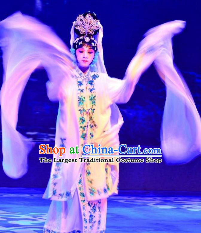 Chinese Beijing Opera Actress Apparels Catch San Lang Costumes and Headdress Traditional Peking Opera Hua Tan White Dress Diva Yan Xijiao Garment