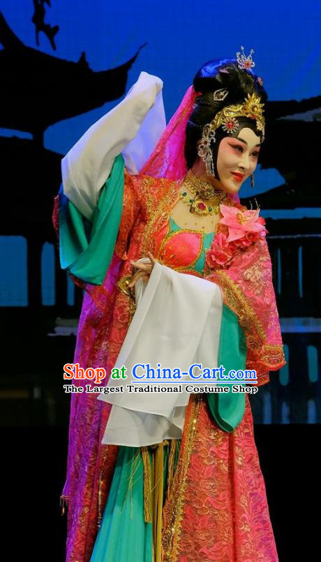 Chinese Beijing Opera Princess Miao Yuan Apparels Love of Guan Yin Costumes and Headdress Traditional Peking Opera Actress Dress Young Female Garment