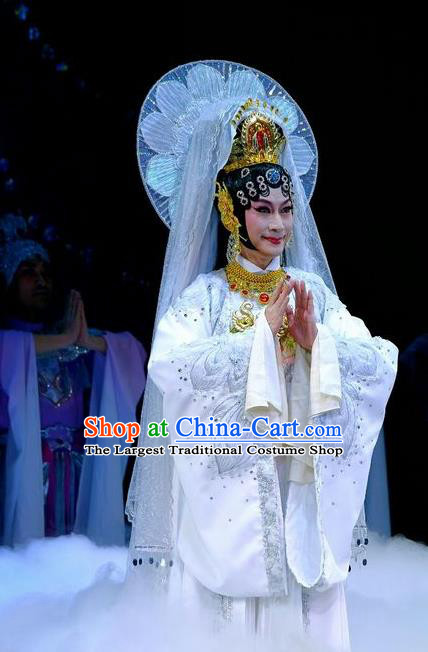 Chinese Beijing Opera Bodhisattva Mercy Buddha Apparels Love of Guan Yin Costumes and Headdress Traditional Peking Opera Goddess White Dress Garment