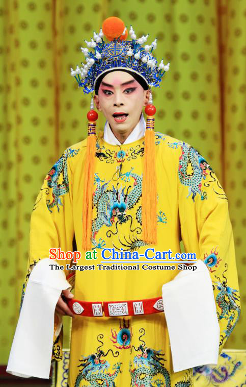 Bai Liang Guan Chinese Peking Opera Young Male Garment Costumes and Headwear Beijing Opera Xiaosheng Apparels Emperor Clothing