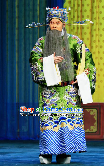 Bai Liang Guan Chinese Peking Opera Elderly Male Garment Costumes and Headwear Beijing Opera Laosheng Apparels Official Qin Qiong Clothing