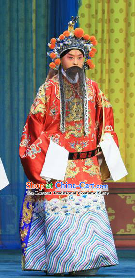 Bai Liang Guan Chinese Peking Opera Emperor Li Shimin Garment Costumes and Headwear Beijing Opera Laosheng Apparels Elderly Male Clothing