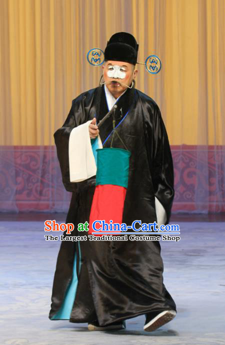 Qing Guan Ce Chinese Peking Opera Chou Garment Costumes and Headwear Beijing Opera Apparels Clown Pan Mei Official Clothing