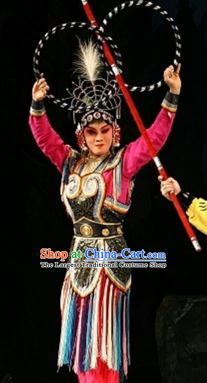 Chinese Beijing Opera Female Swordsman Apparels Cave of Silver Wed Costumes and Headdress Traditional Peking Opera Wudan Dress Fairy Garment