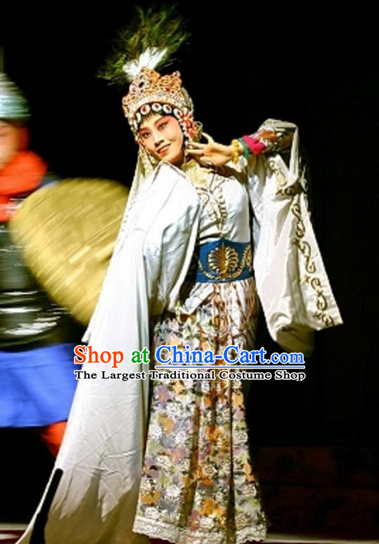Chinese Beijing Opera Fairy Apparels Cave of Silver Wed Costumes and Headdress Traditional Peking Opera Hua Tan Dress Diva Yue Xia Garment