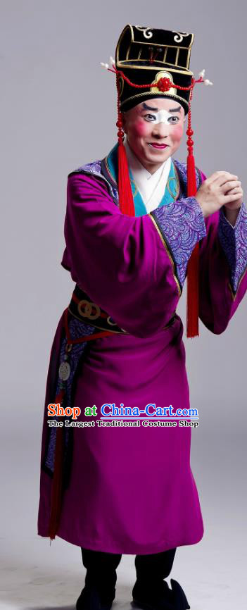King Zhao Wuling Chinese Peking Opera Eunuch Garment Costumes and Headwear Beijing Opera Court Servant Apparels Clothing