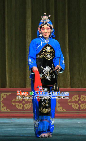 Chinese Beijing Opera Female Apparels Ju Da Gang Costumes and Headdress Traditional Peking Opera Country Woman Blue Dress Garment