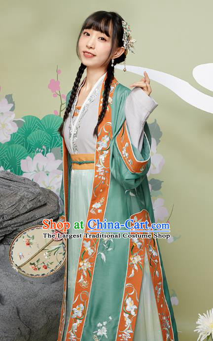 Chinese Ancient Garment Embroidered Hanfu Dress Traditional Song Dynasty Nobility Female Historical Costumes for Women