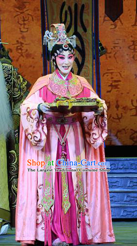 Chinese Beijing Opera Queen Wu Wa Apparels King Zhao Wuling Costumes and Headdress Traditional Peking Opera Young Beauty Dress Actress Garment