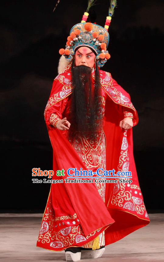 Feng Yu Xing Huang Qi Chinese Peking Opera Elderly Male Garment Costumes and Headwear Beijing Opera Laosheng Apparels Chief Song Jiang Clothing