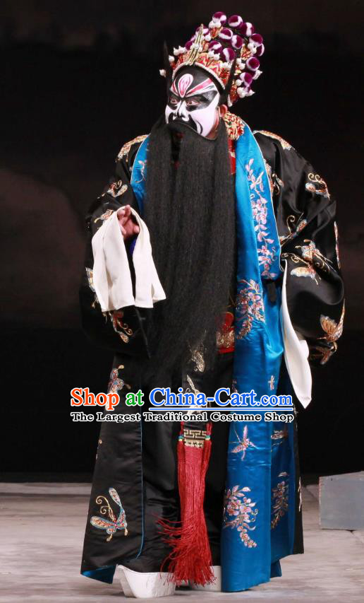 Feng Yu Xing Huang Qi Chinese Peking Opera Martial Male Garment Costumes and Headwear Beijing Opera Wusheng Apparels Swordsman Li Kui Clothing