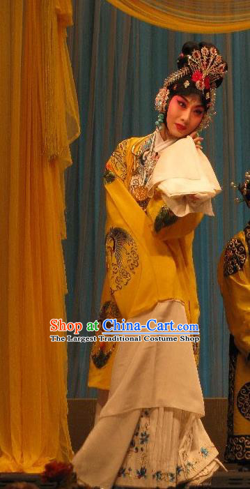 Chinese Beijing Opera Young Female Apparels Fish and Algae Palace Costumes and Headdress Traditional Peking Opera Hua Tan Dress Imperial Consort Qi Ji Garment