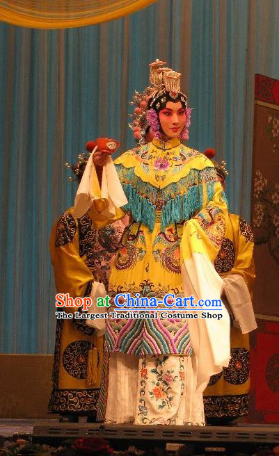 Chinese Beijing Opera Queen Lv Apparels Fish and Algae Palace Costumes and Headdress Traditional Peking Opera Hua Tan Dress Emperor Garment