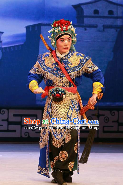 Nan Jie Guan Chinese Peking Opera Wusheng Garment Costumes and Headwear Beijing Opera Soldier He Yanxi Apparels Armor Clothing