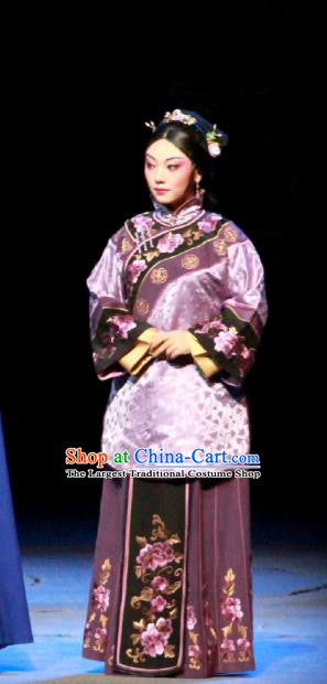 Chinese Beijing Opera Young Mistress Bai Yufen Apparels The Grand Mansion Gate Costumes and Headdress Traditional Peking Opera Rich Female Dress Garment