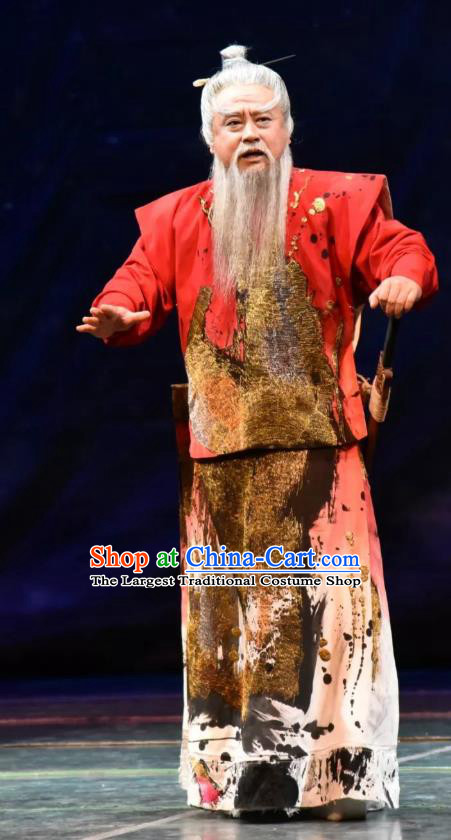 Da Shun Chinese Peking Opera Elderly Male Shun Garment Costumes and Headwear Beijing Opera Emperor Apparels Monarch Clothing