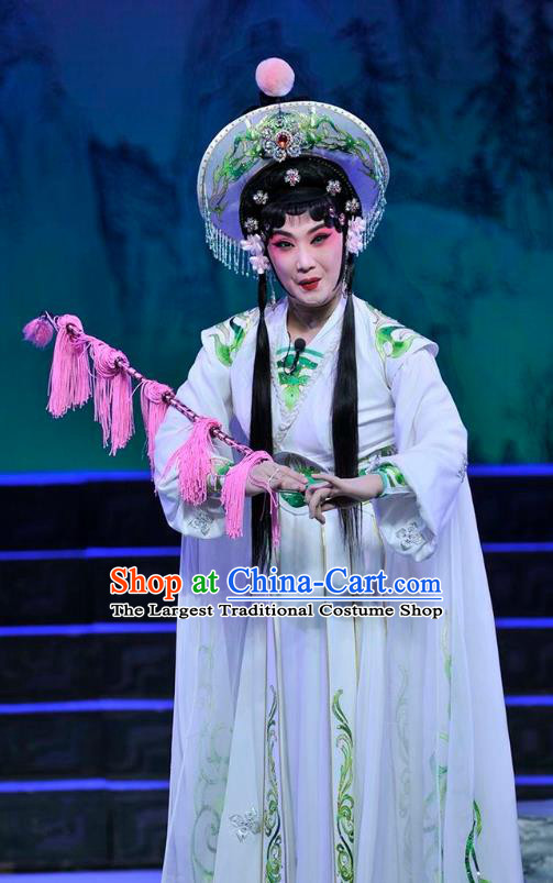 Chinese Beijing Opera Young Female Apparels Qi Nv Wu Rong Costumes and Headdress Traditional Peking Opera Country Woman Dress Garment