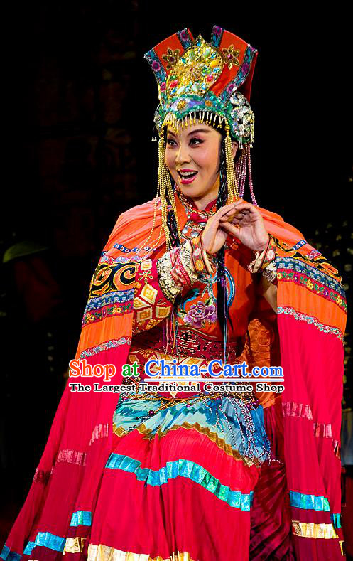 Chinese Beijing Opera Hua Tan Garment Lu Shui Yi Shan Costumes and Hair Accessories Traditional Peking Opera Actress Dress Queen Zhu Rong Apparels