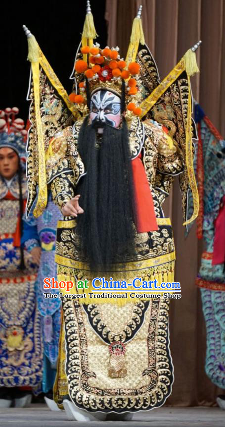 Man Jiang Hong Chinese Peking Opera General Kao Apparels Costumes and Headpieces Beijing Opera Martial Man Armor Garment Clothing with Flags