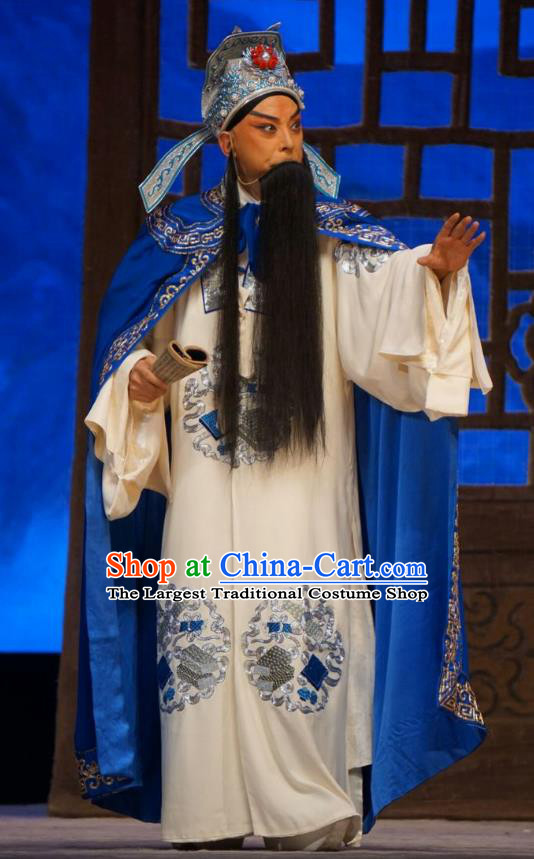 Man Jiang Hong Chinese Peking Opera Elderly Male Yue Fei Apparels Costumes and Headpieces Beijing Opera Laosheng Garment Clothing