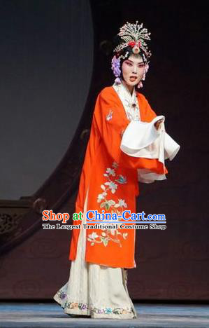 Chinese Beijing Opera Young Female Garment Man Jiang Hong Costumes and Hair Accessories Traditional Peking Opera Hua Tan Red Dress Apparels