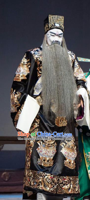 Man Jiang Hong Chinese Peking Opera Elderly Male Qin Hui Apparels Costumes and Headpieces Beijing Opera Jing Role Garment Treacherous Official Clothing