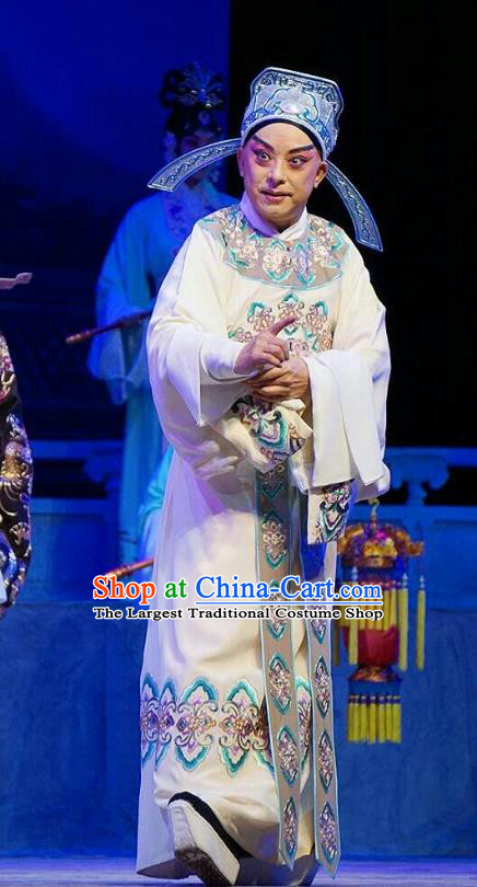 Princess Changping Chinese Peking Opera Xiaosheng Garment Costumes and Headwear Beijing Opera Military Officer Apparels Young Male Zhou Shixian Clothing
