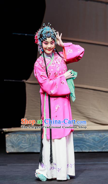 Chinese Beijing Opera Young Beauty Garment Six Chapters of A Floating Life Costumes and Hair Accessories Traditional Peking Opera Hua Tan Dress Courtesan Xi Er Apparels