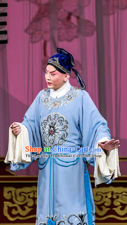 The Dream Of Red Mansions Chinese Peking Opera Xiaosheng Apparels Costumes and Headpieces Beijing Opera Young Male Garment Childe Jia Lian Clothing