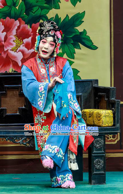 Chinese Beijing Opera Elderly Female Garment The Dream Of Red Mansions Costumes and Hair Accessories Traditional Peking Opera Old Servant Woman Dress Apparels