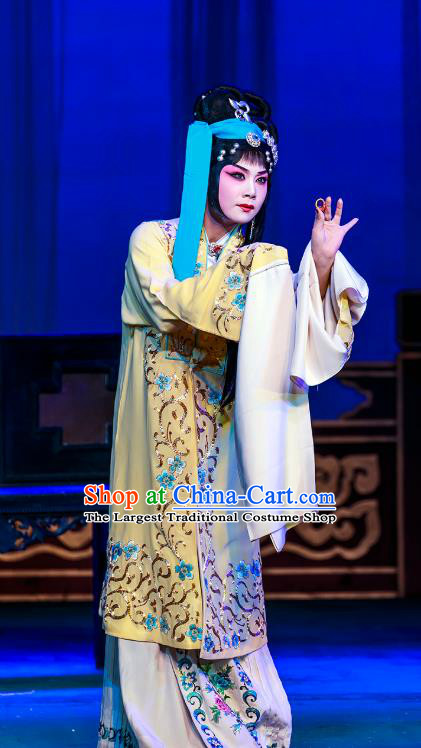 Chinese Beijing Opera Young Female Garment The Dream Of Red Mansions Costumes and Hair Accessories Traditional Peking Opera Rich Consort You Erjie Dress Apparels