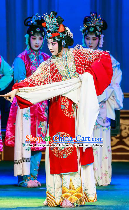 Chinese Beijing Opera Rich Mistress Garment The Dream Of Red Mansions Costumes and Hair Accessories Traditional Peking Opera Noble Female Wang Xifeng Red Dress Apparels