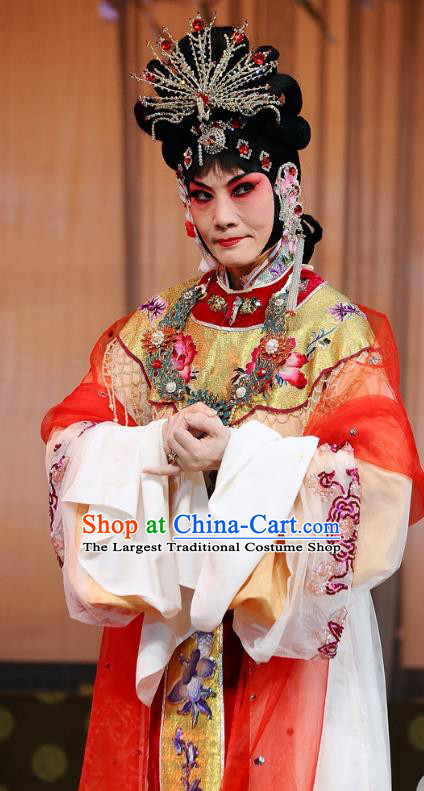 Chinese Beijing Opera Diva Wang Xifeng Garment The Dream Of Red Mansions Costumes and Hair Accessories Traditional Peking Opera Hua Tan Dress Apparels