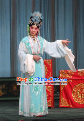 Chinese Beijing Opera Maidservant Garment The Dream Of Red Mansions Costumes and Hair Accessories Traditional Peking Opera Concubine Qiu Tong Dress Apparels