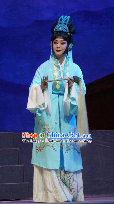 Chinese Beijing Opera Taoist Nun Apparels Princess Changping Costumes and Headdress Traditional Peking Opera Diva Dress Actress Blue Garment