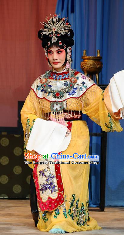 Chinese Beijing Opera Hua Tan Garment The Dream Of Red Mansions Costumes and Hair Accessories Traditional Peking Opera Mistress Wang Xifeng Yellow Dress Apparels